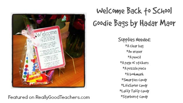 Welcome Back to School Goodie Bags by Hadar Maor as Featured on ReallyGoodTeachers.com
