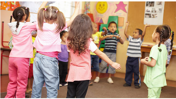 Kids dancing in the classroom to get rid of extra energy with brain break songs